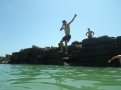 Jumping in the ocean!